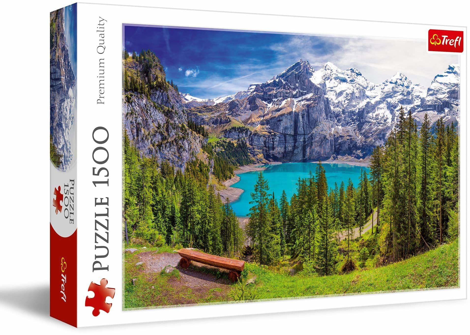 Trefl Jezioro Oeschinen, Alpy, Szwajcaria Puzzle 1500 Elementów o Wysokiej Jakości Nadruku dla Dorosłych i Dzieci od 12 lat