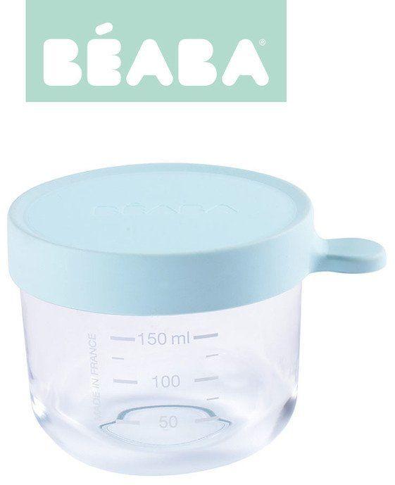 Beaba Pojemnik słoiczek szklany z hermetycznym zamknięciem 150 ml light blue 912650- Beaba, akcesoria do kuchni