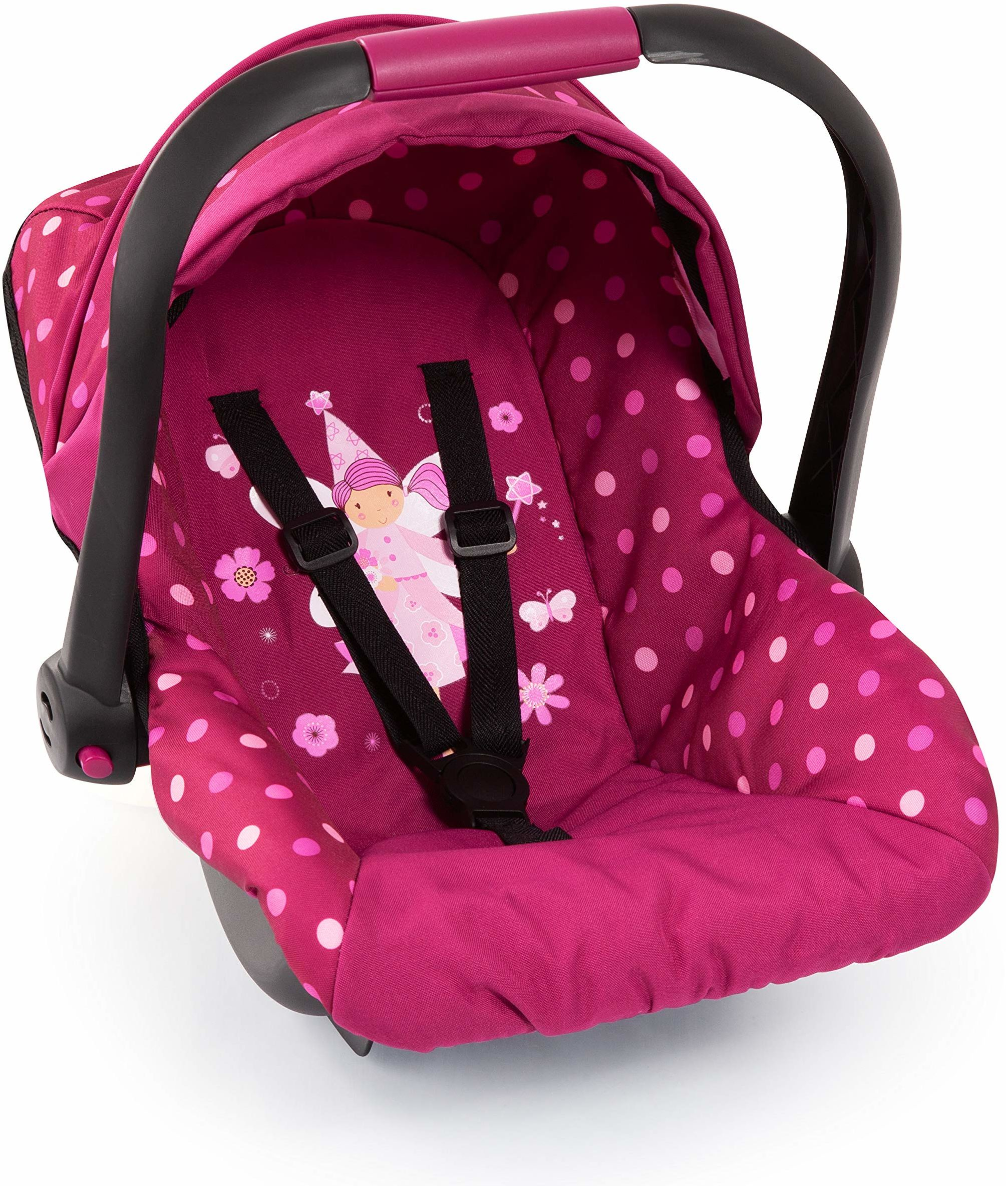 Bayer Design 67967AA fotelik samochodowy dla lalek EasyGo, akcesoria dla lalek, pasuje do wózków dla lalek Vario, z osłoną, bordowy z nowoczesnym wzorem