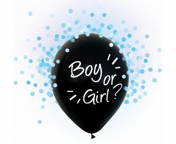 Balony na Baby Shower Boy or Girl z niebieskim konfetti 4 sztuki H12/BGN4