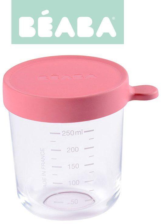 Beaba Pojemnik słoiczek szklany z hermetycznym zamknięciem 250 ml dark pink 912653- Beaba, naczynia dla niemowląt
