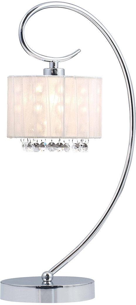 Italux lampa stołowa Span MTM1583/1 WH biały abażur kryształki