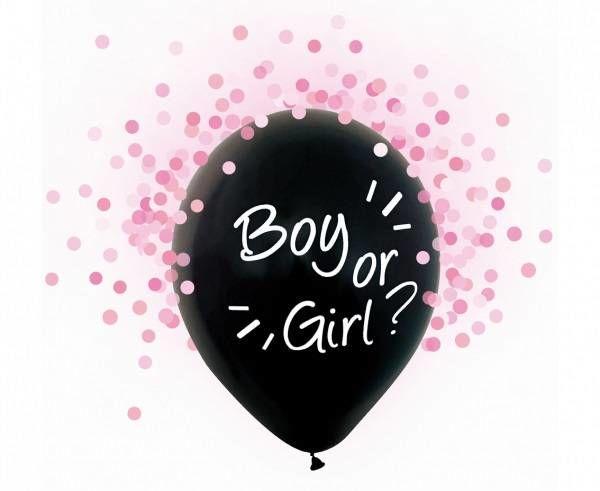 Balony na Baby Shower Boy or Girl z różowym konfetti 4 sztuki H12/BGR4