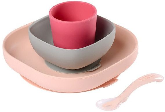 Beaba Komplet naczyń z silikonu pink 913429- Beaba, naczynia dla niemowląt