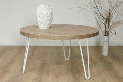 Okrągły stolik kawowy SIMPLE 80 Biały Dąb Brunico
