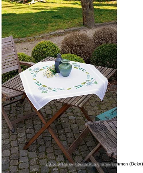 """Vervaco PN-0170838 liście i trawa zadrukowany obrus na stół, bawełna, wielokolorowy, ok. 80 x 80 cm / 32"""" x 32"""""""