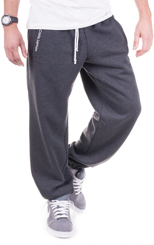 Grafitowe męskie spodnie dresowe''Teodoro'' od Carlo Lamon - Grafit