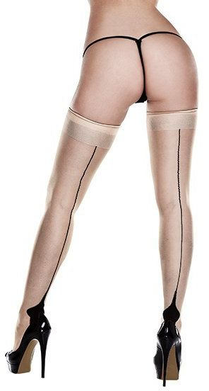 Pończochy - Baci Nude Opaque Cuban Heel Thigh Highs Queen Size