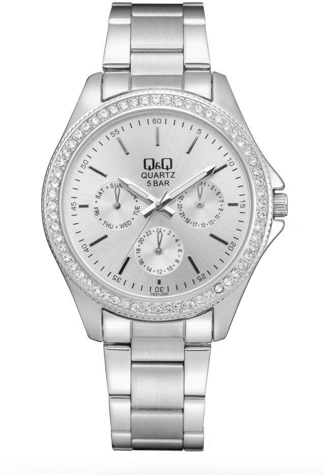 Zegarek Q&Q CE01-201 Cyrkonie Biżuteryjny MultiData