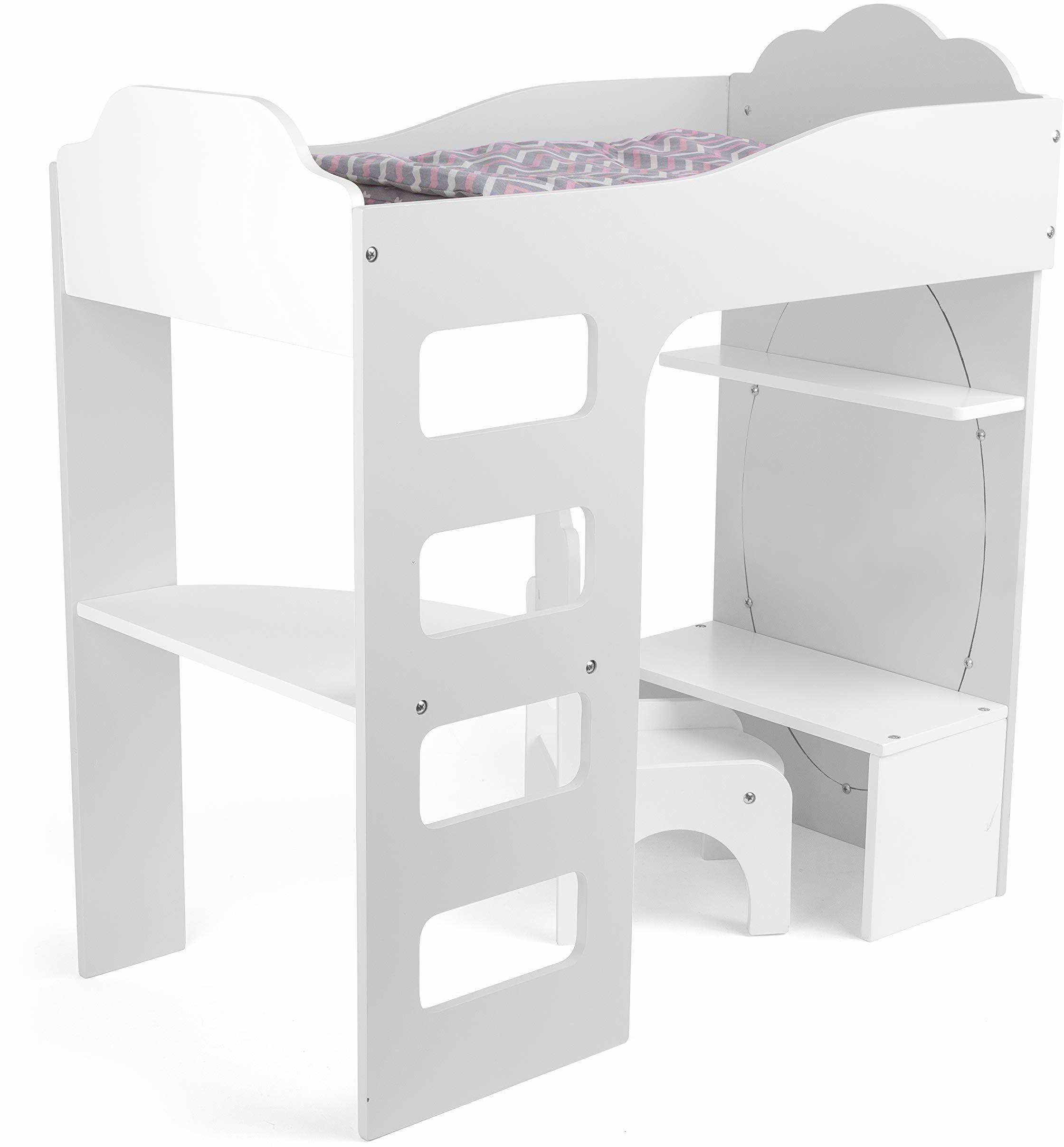 small foot 12025 łóżko piętrowe dla lalek z drewna, z drabinką, pościelą na biurko, krzesło i lustro, od 3 lat