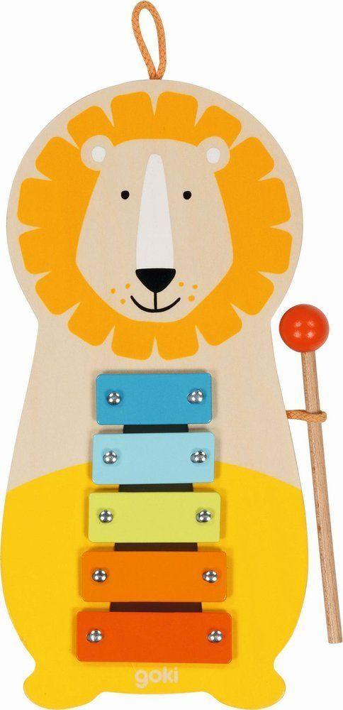 Drewniany ksylofon Lew pomarańczowy 61876-Goki, instrumenty dla dzieci