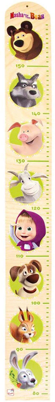 Mascha und der Bär Płytka pomiarowa, dekoracja ścienna (listwa pomiarowa MDF z zabawnymi motywami zwierzęcymi, od 0 lat, skala pomiarowa: 80  160 cm, wymiary: 85,5 x 9,5 x 1,0 cm), wielokolorowa