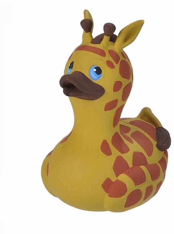 Wild Republic Gumowa kaczka, żyrafa, prezent dla dzieci, piszcząca kaczka, zabawka do kąpieli dla niemowląt, zabawna kaczka do kąpieli, 10 cm