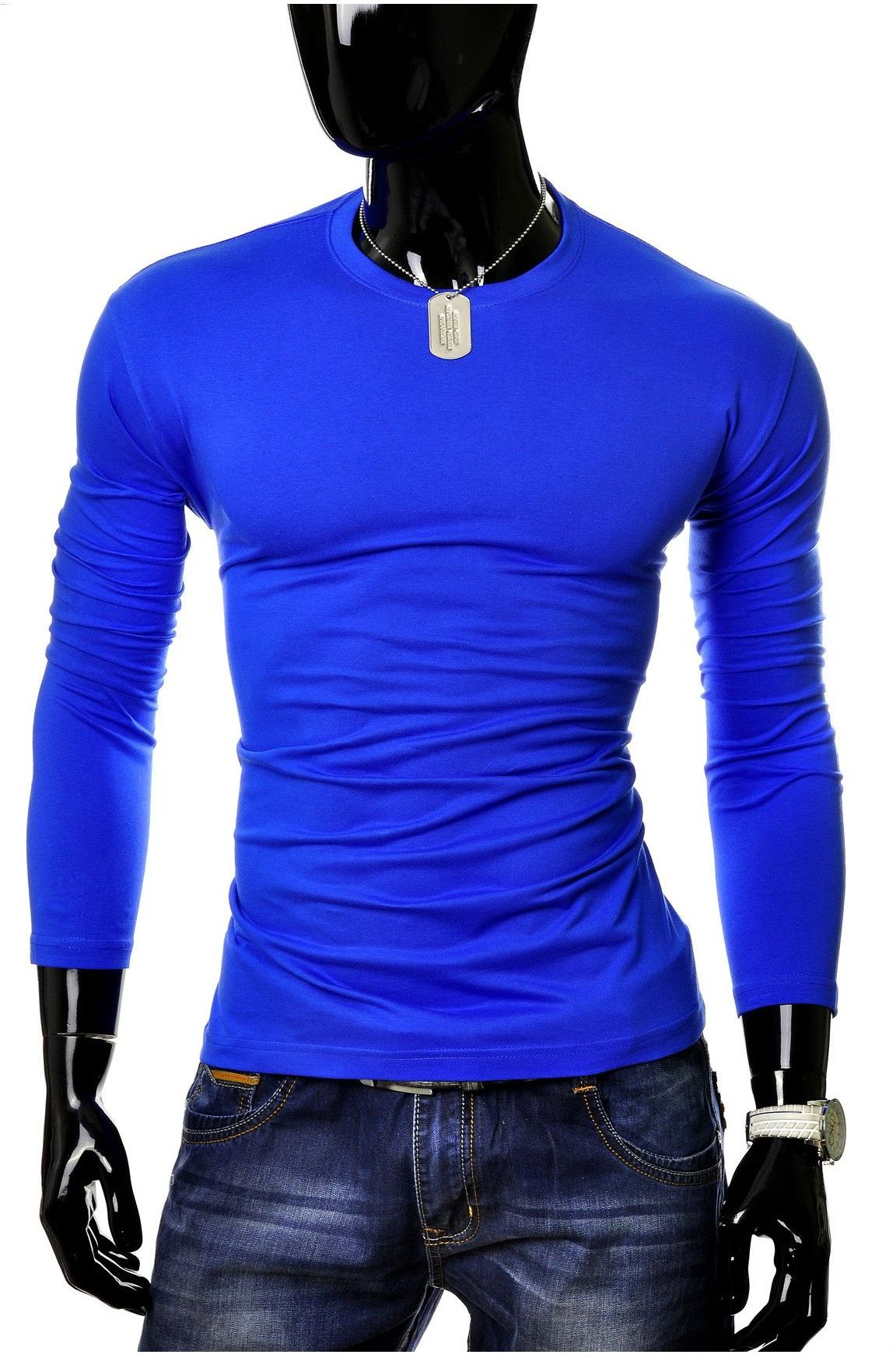 Bluza męska longsleeve JL5 - niebieska