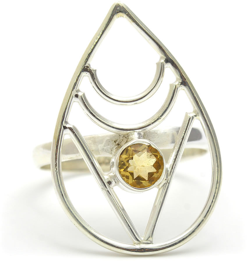 Kuźnia Srebra - Pierścionek srebrny, rozm. 16, Cytryn, 3g, model