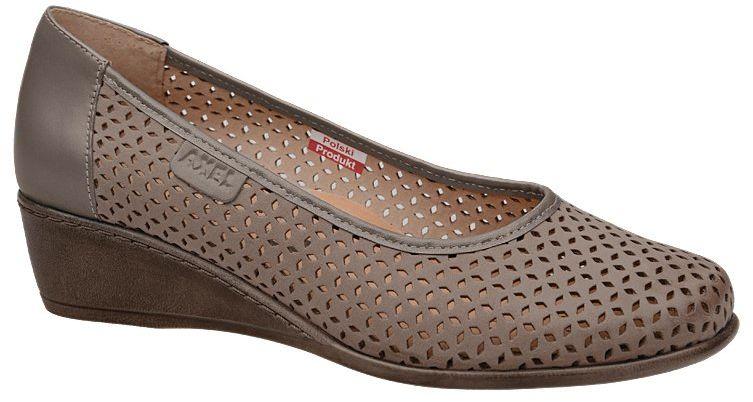 Półbuty AXEL Comfort 1676 Beżowe buty na haluksy na koturnie