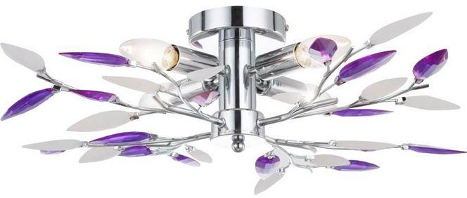 Globo plafon lampa sufitowa Giulietta 63167-4 chrom akrylowe kryształki satynowe i fioletowe 62cm