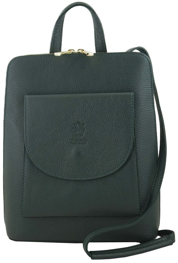 Plecak skórzany / listonoszka - Casual 2w1 - Zielony ciemny