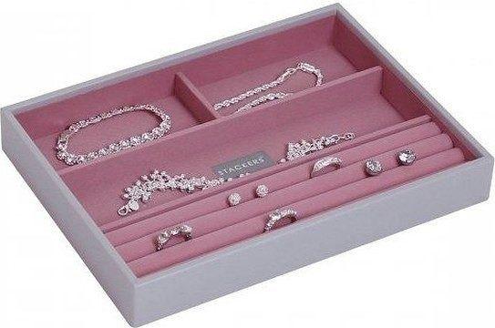 Szkatułka na biżuterię stackers 4 komorowa classic szaro-różowa