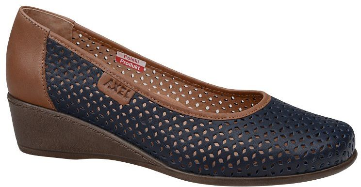 Półbuty AXEL Comfort 1676 Granatowe buty na haluksy na koturnie