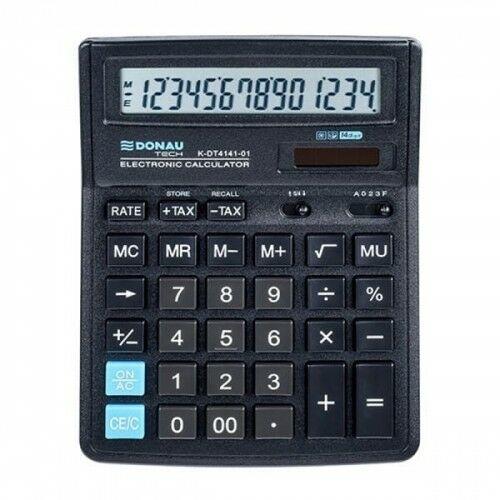 Kalkulator 14 pozycyjny DONAU TECH K-DT4141-01 199x153x31mm czarny /K-DT4141-01/