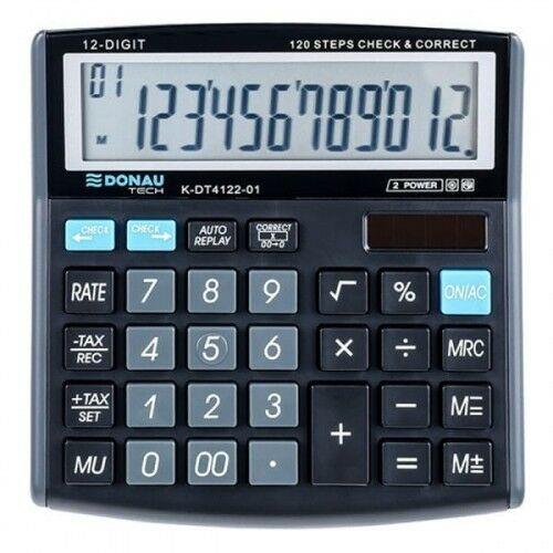 Kalkulator 12 pozycyjny DONAU TECH K-DT4122-01 136x134x28mm czarny /K-DT4122-01/