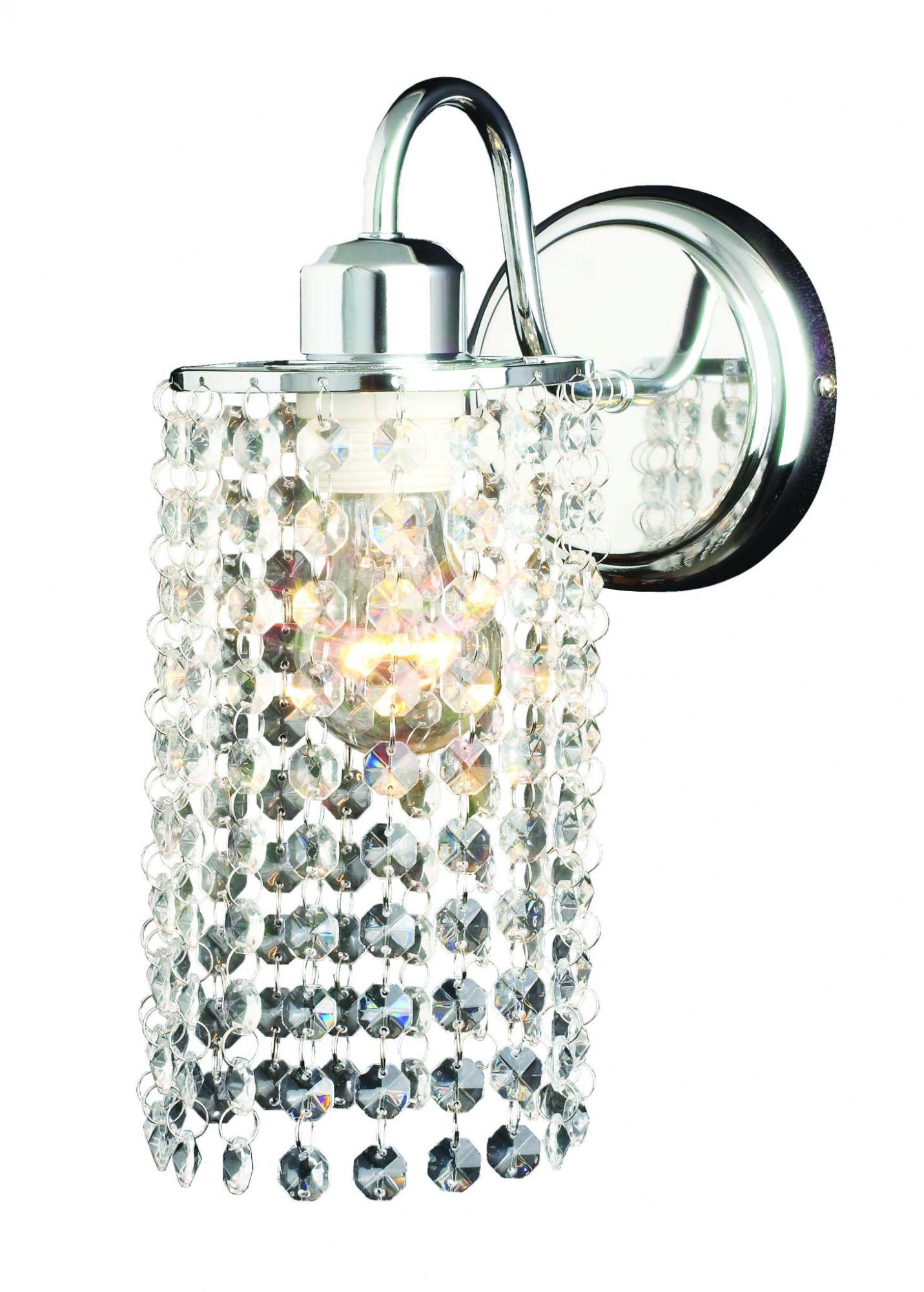Kinkiet Bright Star LP-812/1W Light Prestige kryształowa lampa ścienna w kolorze srebrnym