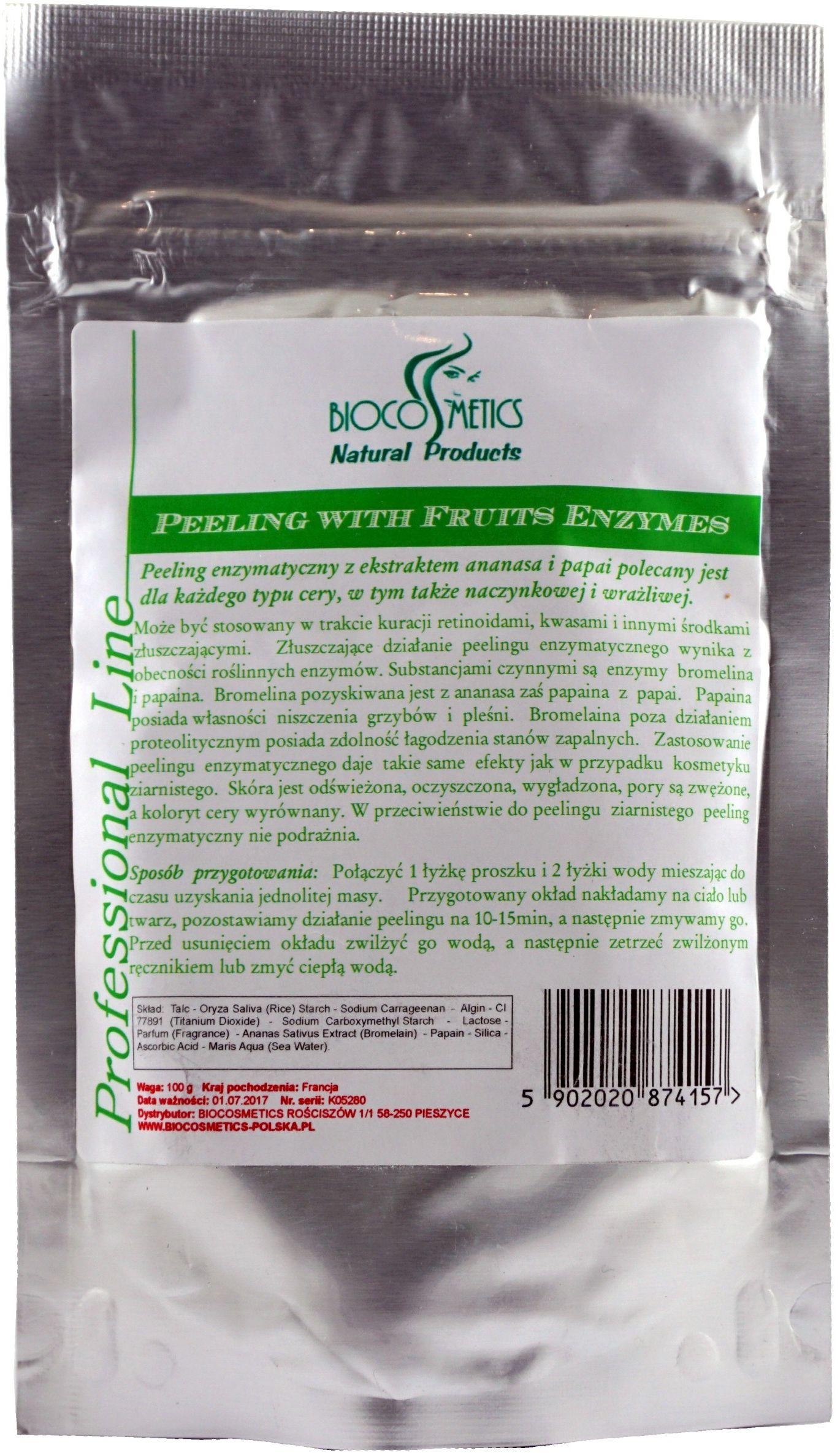 Owocowy peeling enzymatyczny z papainą i bromeliną - 100g - Biocosmetics