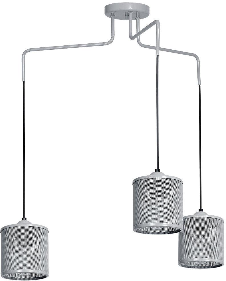 Milagro LOUISE GREY MLP645 lampa wisząca regulacja wysokości metalowa siatka szary 3xE27 84cm
