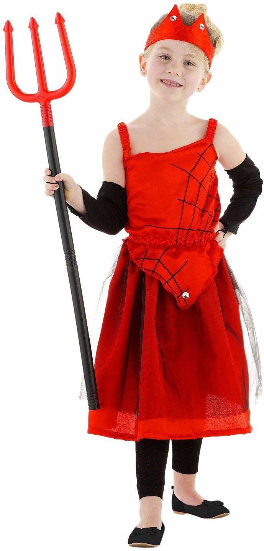 Sukienka diabelska z pajęczynami 4-częściowa dla dziewczynek - rozmiar 116-134