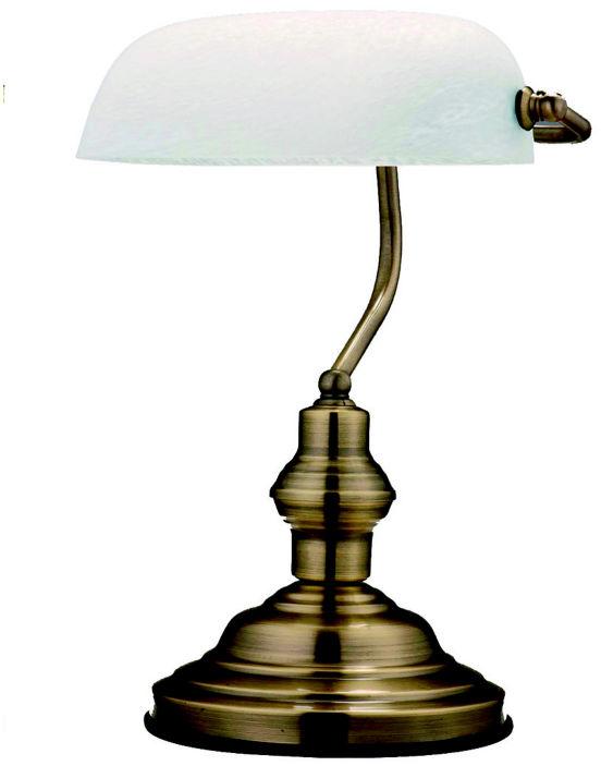 Globo lampa stołowa Antique 2492 stare złoto, szkło białe alabaster Bankers, Bankerska
