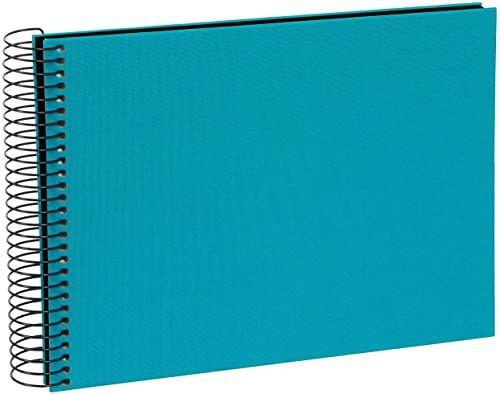 goldbuch 20963 album spiralny Bella Vista, album fotograficzny 24 x 17 cm, album fotograficzny z 40 czarnymi stronami, album na wspomnienia z lnu, fotoksiążka do wklejania, turkusowy