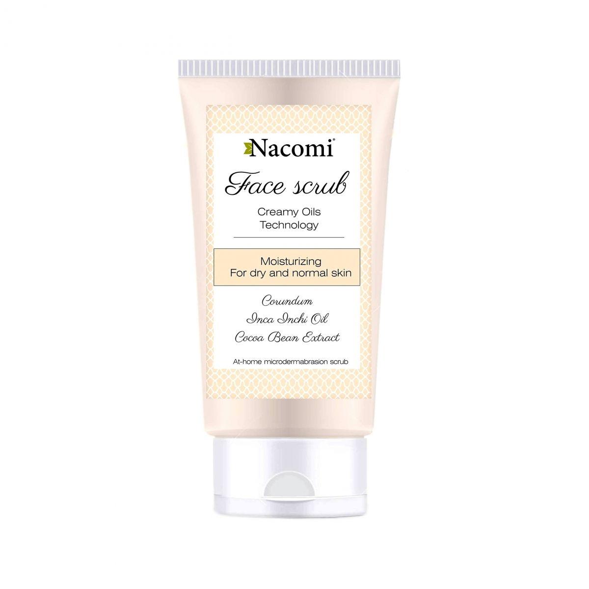 Nawilżający peeling do twarzy z korundem i olejem ze słodkich migdałów - 85ml - Nacomi