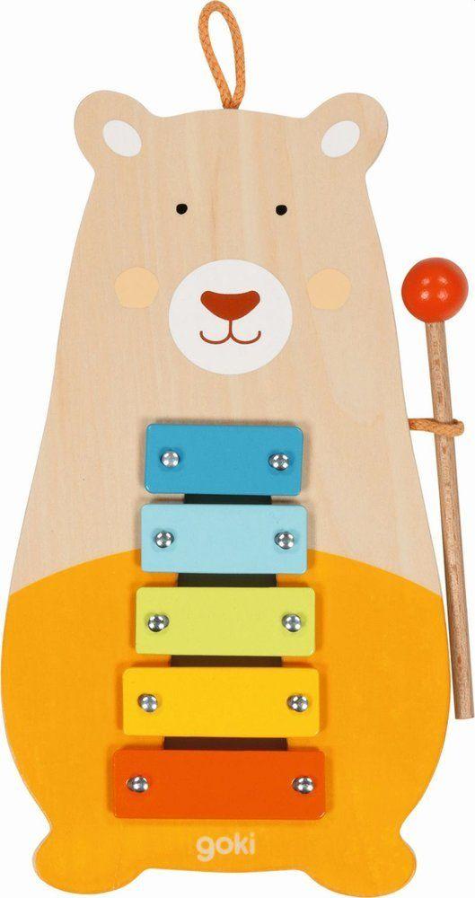 Drewniany ksylofon Miś pomarańczowy 61877-Goki, instrumenty dla dzieci