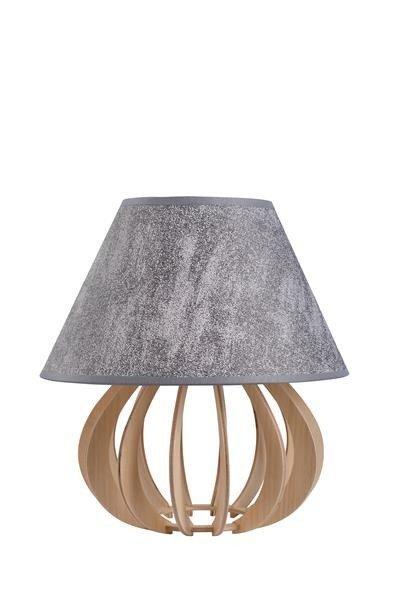 Drewniana lampa stołowa z abażurem NORA 965 drewno/szary śr. 25cm