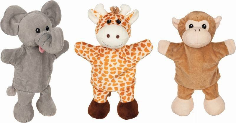 Pacynka na rękę słoń żyrafa małpka 50960-Goki, zabawa w teatrzyk