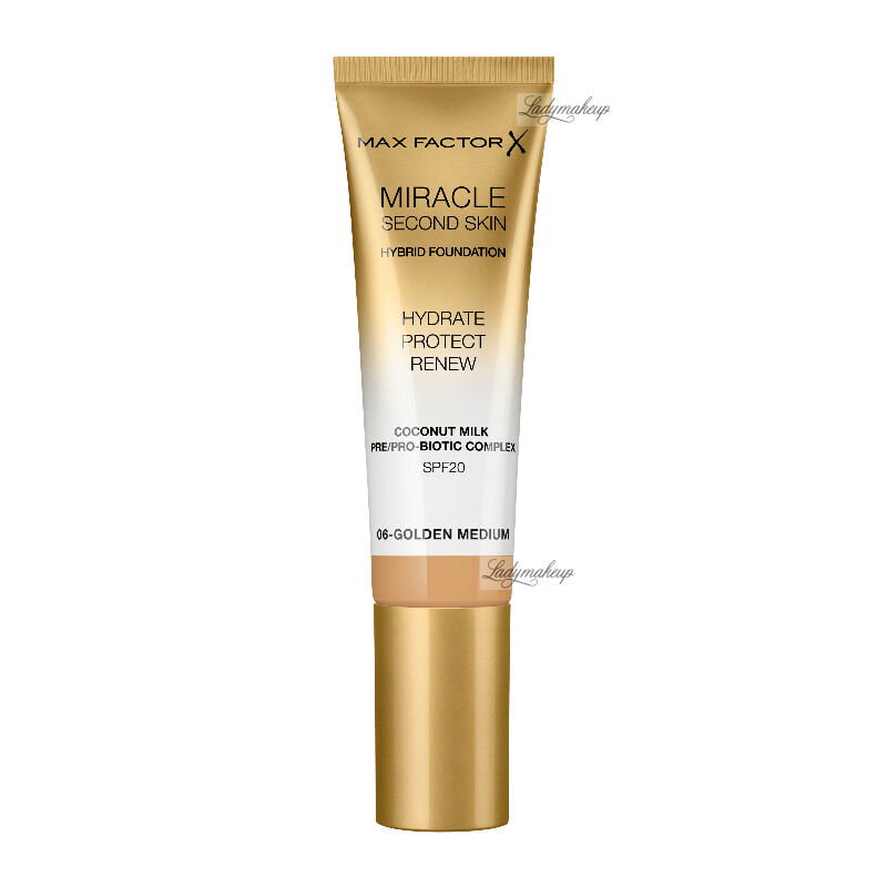 Max Factor - MIRACLE SECOND SKIN - HYBRID FOUNDATION - Podkład nawilżający z filtrem SPF20 - 30 ml - 06 - GOLDEN MEDIUM