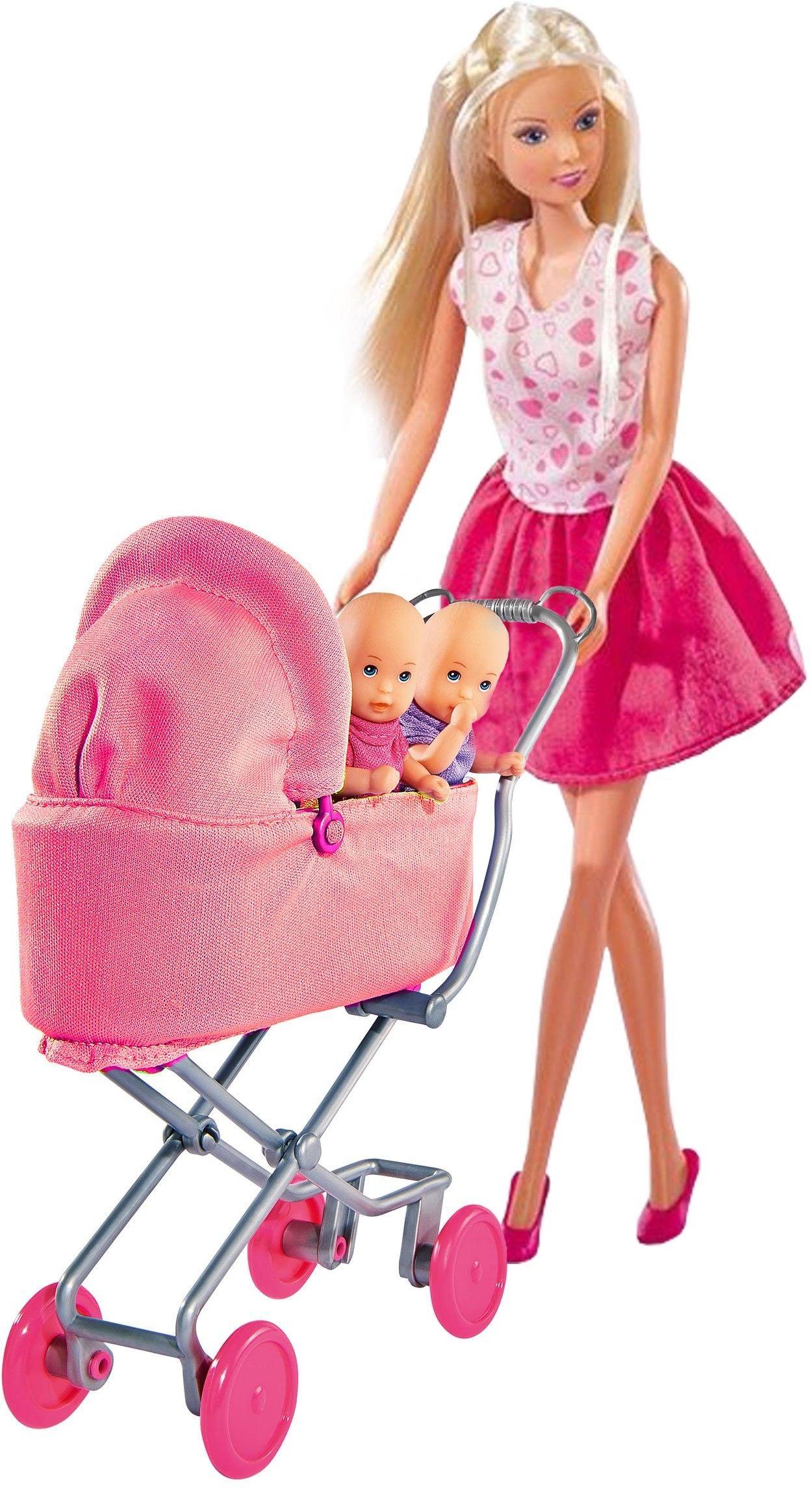 Simba Lalka Steffi Love z dziećmi i Różowym Głębokim Wózkiem