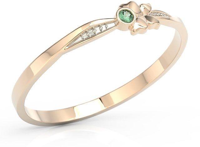 Pierścionek motylek z różowego złota z zieloną cyrkonią bp-89p-r-c