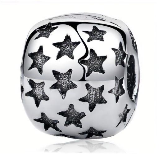 Rodowany srebrny charms do pandora blokada klips gwiazdki gwiazdy stars srebro 925 LOCK44