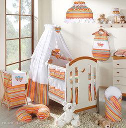 MAMO-TATO pościel 5-el Serduszka w paseczkach pomarańczowych do łóżeczka 60x120cm - Tkanina