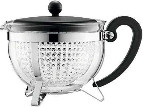 Bodum Chambord dzbanek do herbaty z kolorową pokrywką z tworzywa sztucznego  41 ml, czarny