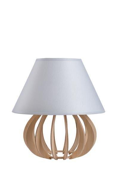 Drewniana lampa stołowa z abażurem NORA 966 drewno/szary śr. 25cm
