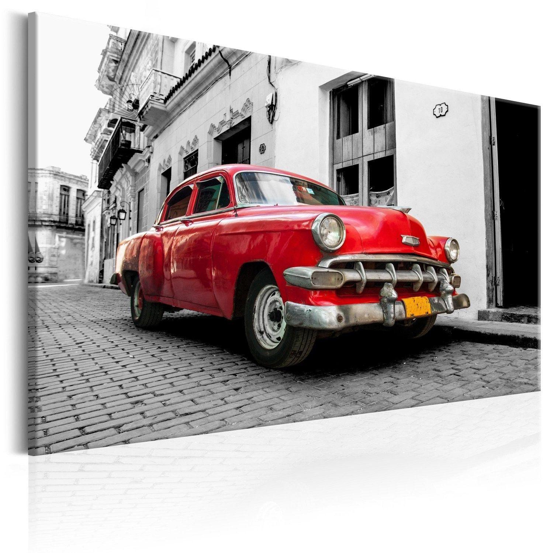 Obraz - klasyczne kubańskie auto (czerwony)