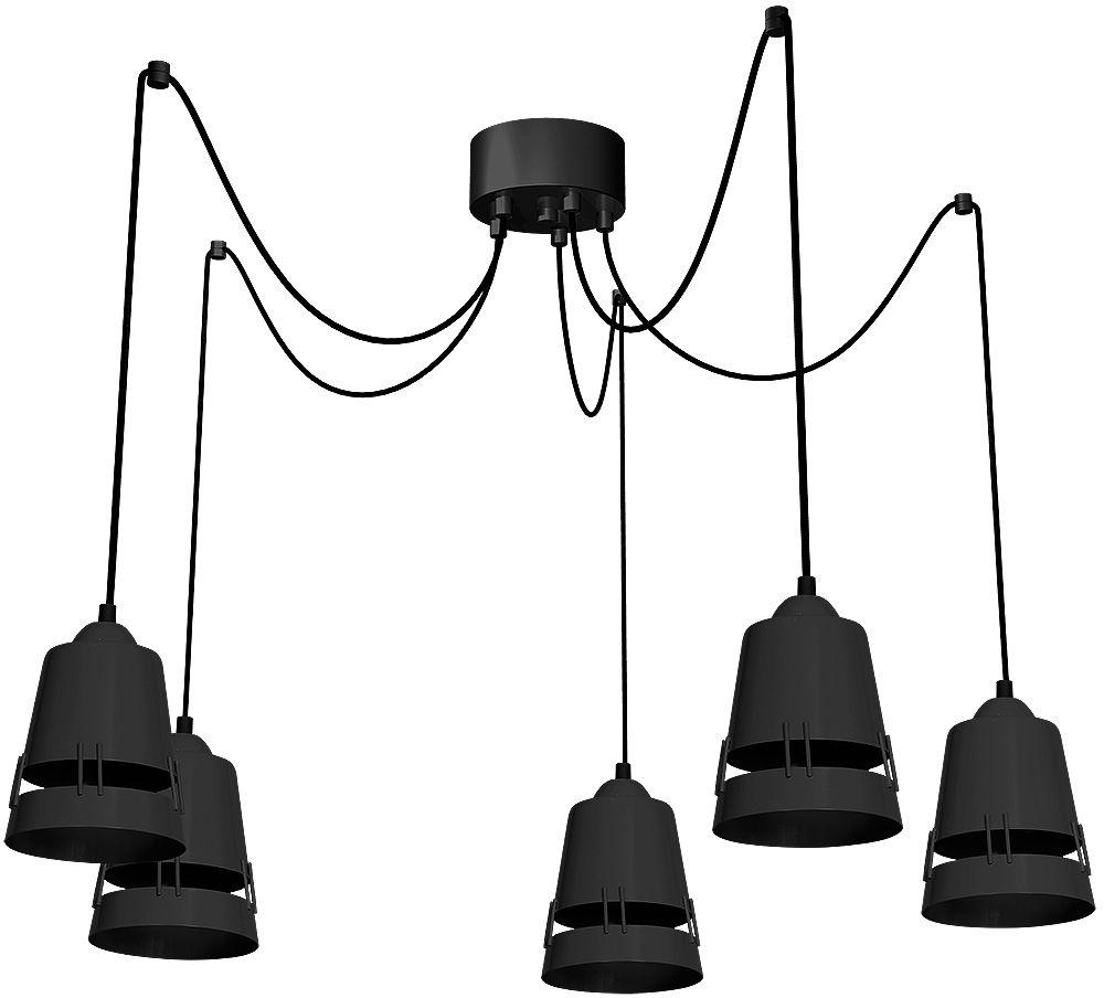 Milagro APOLLO BLACK MLP781 lampa wisząca regulacja wysokości nowoczesna industrialna 5xE27 czarny metal 100cm