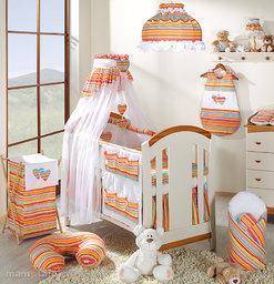 MAMO-TATO pościel 5-el Serduszka w paseczkach pomarańczowych do łóżeczka 60x120cm - Szyfon