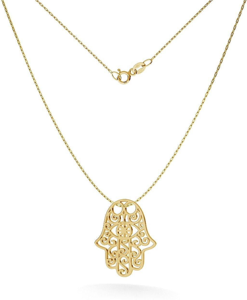 Złoty naszyjnik celebrytka ręka fatimy, au 585