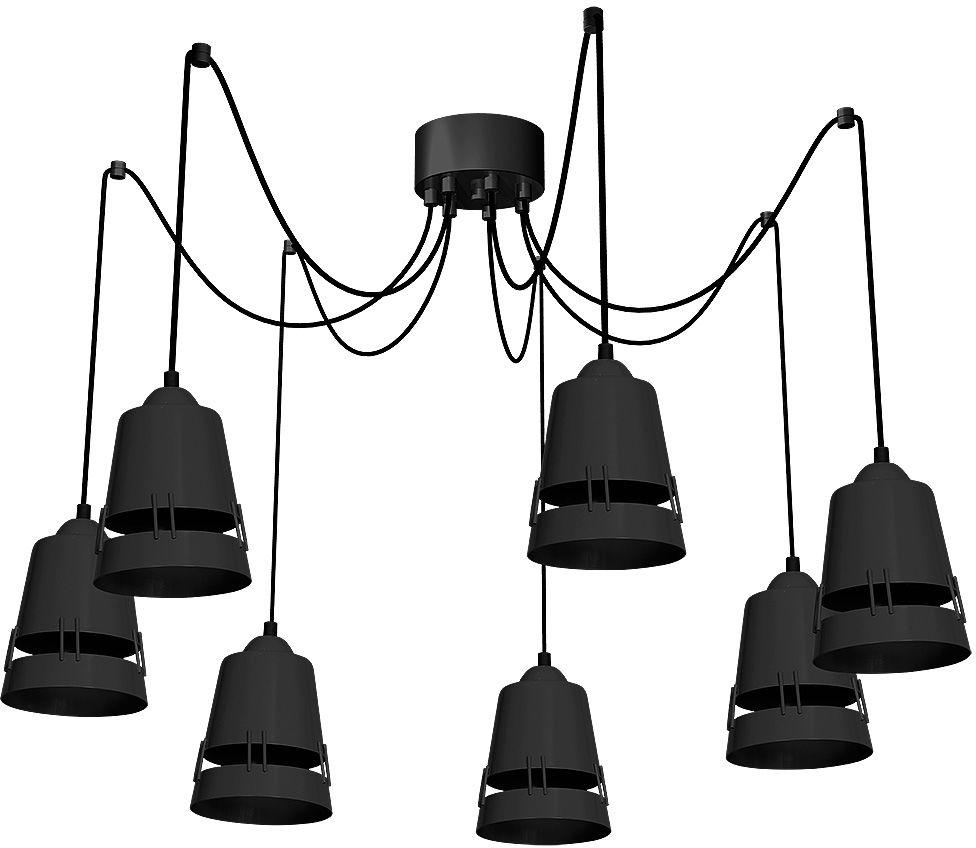 Milagro APOLLO BLACK MLP782 lampa wisząca regulacja wysokości czarny metal nowoczesna industrialna 7xE27 100cm