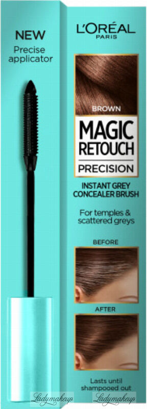 L Oréal - MAGIC RETOUCH PRECISION - INSTANT GREY CONCEALER BRUSH - Maskara tuszująca siwe włosy na skroniach i pojedyncze siwe włosy - 8 ml - BROWN