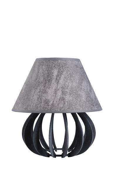 Drewniana lampa stołowa z abażurem NORA 934 szary/szary śr. 25cm